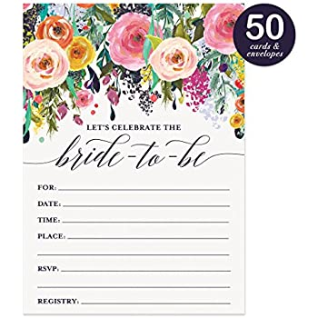 40 floral watercolor bridal shower for Bridal shower fill in invitations