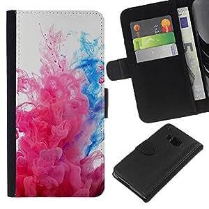 LECELL--Cuero de la tarjeta la carpeta del tirón Smartphone Slots Protección Holder For HTC One M7 -- Explosiones de color --