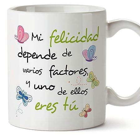 MUGFFINS Taza Original de Desayuno para Regalar a Amigas Amigos y Seres Queridos - Mi Felicidad Depende… - 350 ml - Tazas con Frases motivacionales