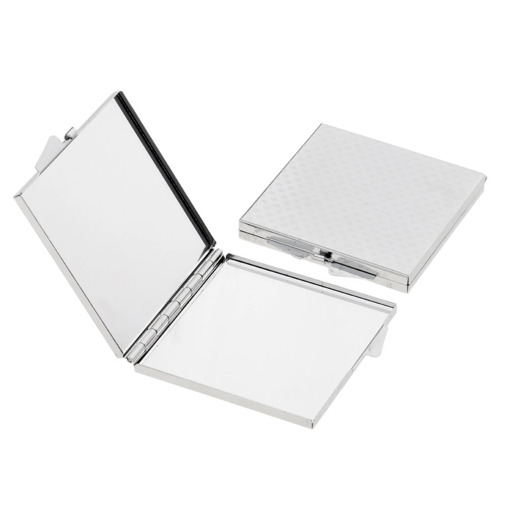 SunniMix Pack of 2 Double Sides Folding Pocket-size Makeup Mirror Portable Square Compact Mirror Silver Lightweight