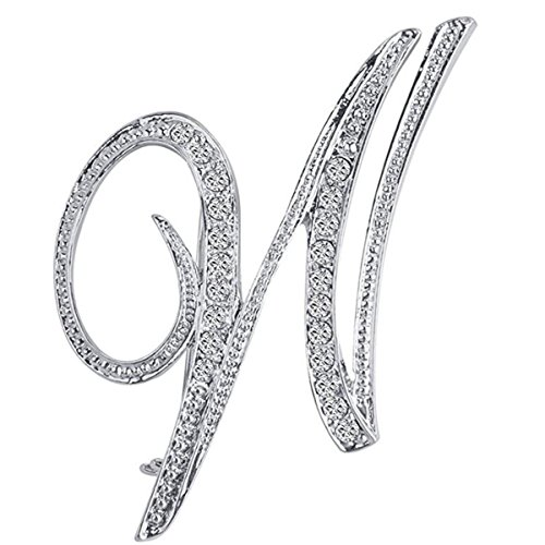Big Pin Brooch - ANTOLL1Pcs A to Z 26 English Letters Silver Plated Metal Clear AAA+ Crystal Lapel Pin Brooches Collar (1pcs-W)