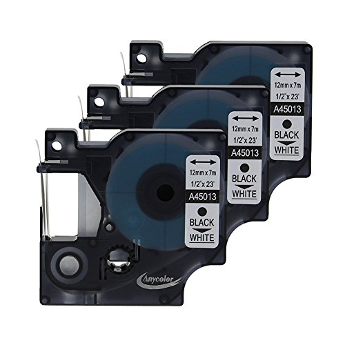 "Anycolor 3 Pack D1 Tape Compatible DYMO 45013 S0720530 Black on White for DYMO LabelManager 160 220P 280 PnP 360D 420P (1/2"" x 23"