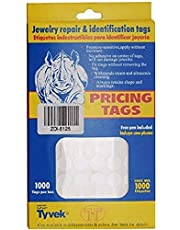 BeadaholiqueCA 1000-Piece Price Tag Stickers for Jewelry Display Barbell Shape, 12mm, White