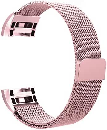 Fitbit Charge 2 Bands Metal, Swees Milanese Loop Stainless Steel Replacement Accessories Magnetic Metal Small & Large Bands ( 5.5