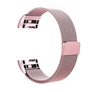 Fitbit Charge 2 Milanese Bands Metal Rose Pink, Swees Replacement Small & Large (5.5