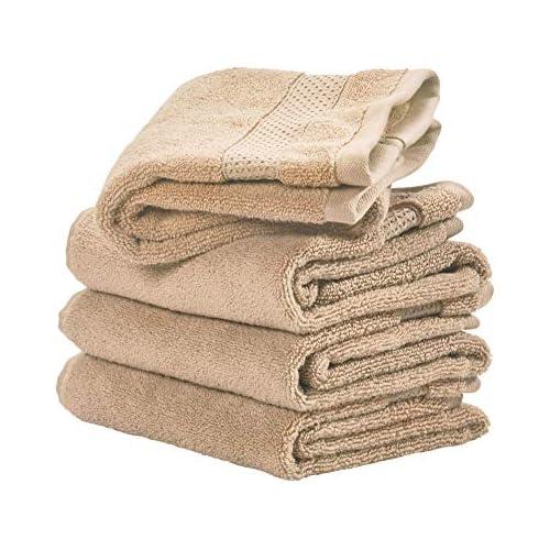chollos oferta descuentos barato iDesign SPA Juego de 4 Manos algodón pequeñas con Cenefa Tejida Set Suaves Ideales como Toallas de Lavabo o para Aseo de Invitados Beis 71 1 cm x 40 6 cm x 0 3 cm 4