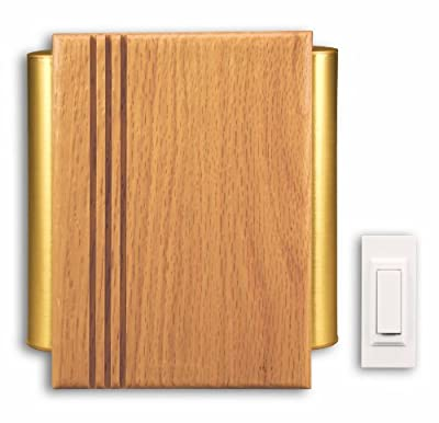 Heath Zenith SL-7882-02 Traditional Décor Wireless Door Chime, Oak and Satin-Finish Brass