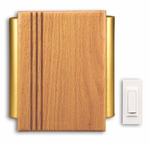 Heath Zenith Doorbell (Heath Zenith SL-7882-02 Traditional Décor Wireless Door Chime, Oak and Satin-Finish Brass)