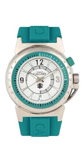 Relojes Calgary Monterosso Blue Time. Reloj clásico para Mujer con Correa de Goma Azul Turquesa con Esfera Plata, Blanco y Detalles en Azul.