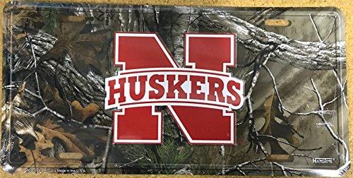 Nebraska Cornhuskers RealTree Camouflage Embossed Metal License Plate