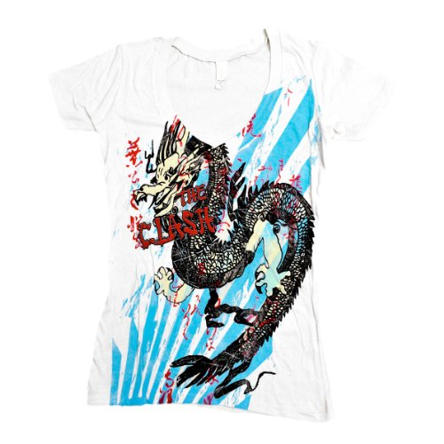 T-Shirt Femme Blanc The Clash  Dragon Burst (Taille M)