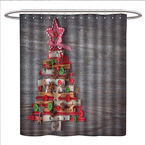 homehot christmas shower curtains 3d digital printing abstract cloth style tree concept with buttons star tree topper wooden backdrop custom made shower