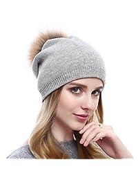 Winter Wool Strechy Beanie Trendy Oversized Caps with Natural Fur Pom-pom