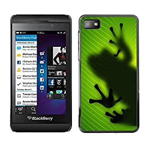 Qstar Arte & diseño plástico duro Fundas Cover Cubre Hard Case Cover para Blackberry Z10 ( Frog Leaf Nature Tropical Rainforest Green)