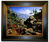 Historic Art Gallery Miners in The Sierras 1851 by Nahl. Charles Christian Framed Canvas Print - Brown with Gold Gallery - 16x20