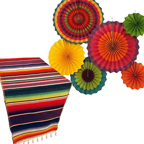 Werrox Jelda's Fia Supplies | Mexican Decorations | Theme Decor for ding, Birthday, Cinco De Mayo, Coco, Taco, etc. | Serape Table Runner | Colorful Paper Fans | Model WDDNG -3112