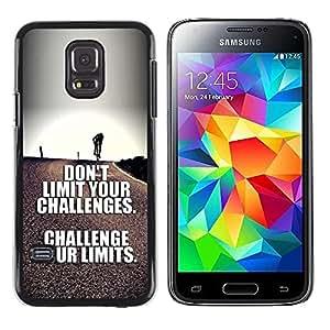 Paccase / SLIM PC / Aliminium Casa Carcasa Funda Case Cover para - challenge your limits inspirational text - Samsung Galaxy S5 Mini, SM-G800, NOT S5 REGULAR!