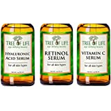 ToLB Anti Aging Serum Combo Pack - 98% Natural, 72% ORGANIC - Vitamin C Serum - Retinol Serum - Hyaluronic Acid Serum