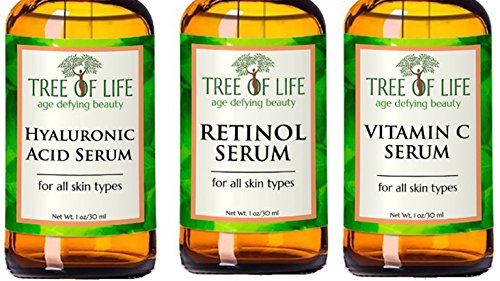 ToLB Anti Aging Serum Combo Pack - 98% Natural, 72% ORGANIC - Vitamin C Serum - Retinol Serum - Hyaluronic Acid Serum