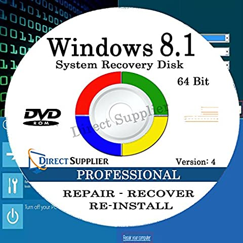WINDOWS 8.1 - 64 Bit DVD SP1, Supports PROFESSIONAL. Recover, Repair, Restore or Re-install Windows to Factory Fresh!