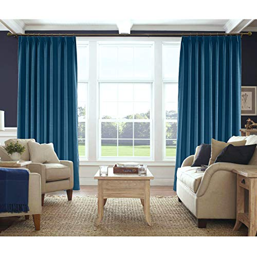 Macochico Navy Blue Pinch Pleated Linen Textured Curtains Thermal Insulated Room Darkening Drapes for Bedroom Window Room Divider Privacy Protection,100 W x 84 L (1 Panel) ()