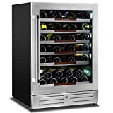 Sipmore 24'' Wine Cooler Refrigerator 44 Various Bottle Built-in or Freestanding Single Zone with Seamless Stainless Steel and Smart Temperature Stabilize System with Stage LED Design