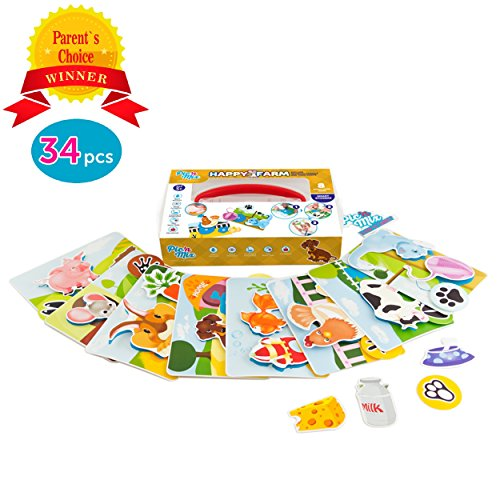 Picnmix Toddler Educational Toys & Games - Preschool Learning Toys - HAPPY FARM Velcro Toy for 3 Year Olds & Up - Eco-friendly Plastic Learning Games w/ Velcro Stickers - Educational Games for Kids