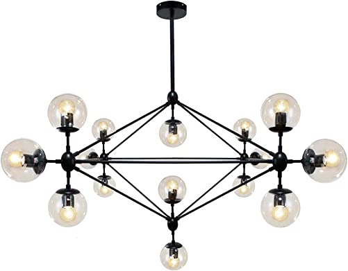 Lampundit DNA Chandelier Lighting 15 Light Chandelier Nordic Modern Magic Bean Chandelier with Globe Glass Shade, Industrial Pendant Light Fixture for Kitchen Dining Room Living Room Foyer – Black
