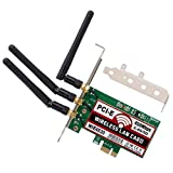 QNINE 450Mbps Wireless PCI-E Express Card, WiFi Network Antenna LAN Adapter with 3PCS Antenna for Windows 7/8 / 10