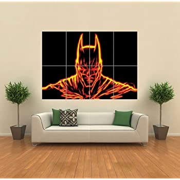 FRACTAL LIGHT ART BATMAN ORANGE GIANT WALL ART PRINT PICTURE POSTER G1166
