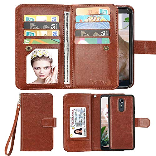 Spritech LG Stylo 5 Wallet Case,LG Stylo 5 Plus PU Leather Case, Luxury Cash Credit Card Slots Holder Carrying Flip Cover [Detachable Magnetic Hard Case] for LG Stylo 5