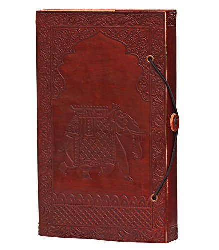 ELEPHANT JOURNAL on SALE – 100% Leather Unlined Journal with Handmade Paper – Vintage Look Elephant Design Brown Retro Notebook / Sketchbook / Daily D…