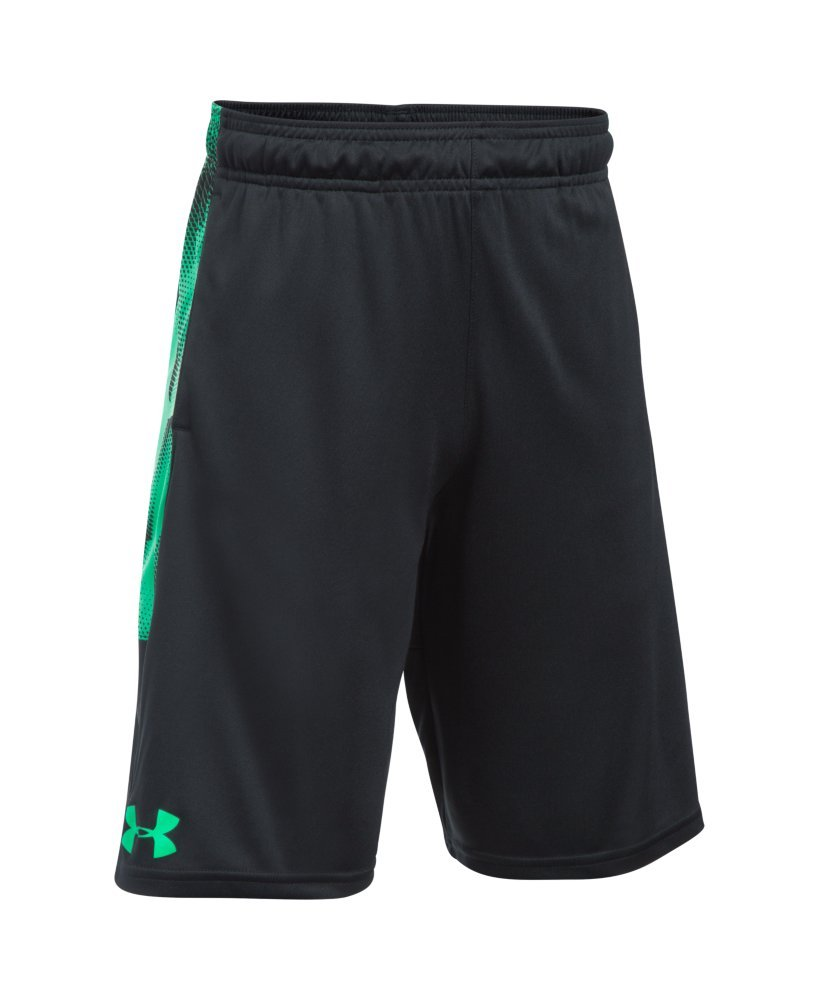 Under Armour Boys' Instinct Printed Shorts, Black /White Youth X-Small