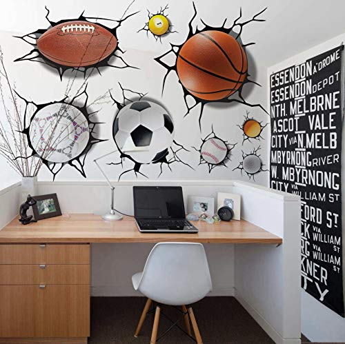 U-Shark 3D Self-adesive Removable Break Through The Wall Vinyl Wall Stickers/Murals Art Decals Decorator Kid's Favor (2080 Sports Basketball Football Soccer Tennis(50x70cm)) ()