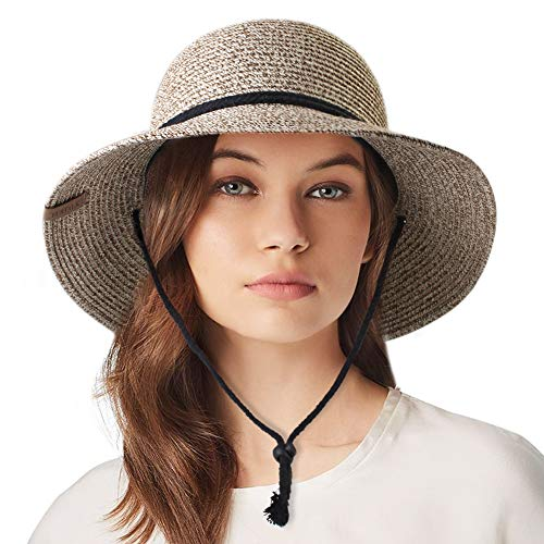 Womens Wide Brim Sun Hat with Wind Lanyard UPF Summer Sun Straw Hats for Women]()