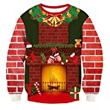 RAISEVERN Unisex Fireplace Printed Ugly Christmas Sweater Fashion Comfy Xmas Pullover Sweater Home Party