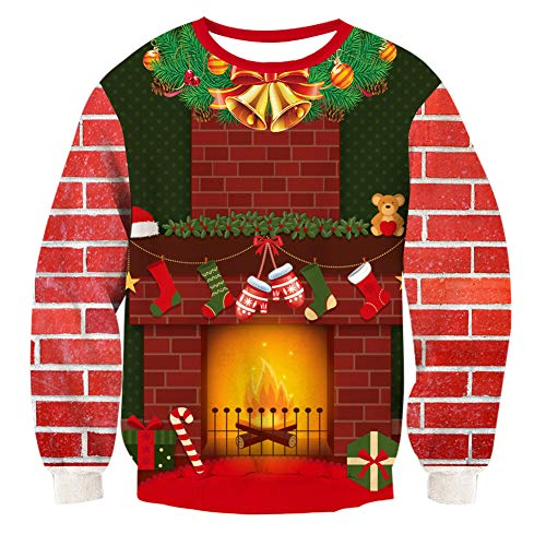 RAISEVERN Unisex Fireplace Printed Ugly Christmas Sweater Fashion Comfy Xmas Pullover Sweater Home Party ()