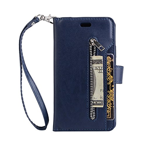 TechCode Galaxy S8+ Case Cover, Retro Vintage Faux Leather Flip Stand Smart Wallet Case Cover with Card Slots & ID Holder Pouch Phone Case Handbag for Samsung Galaxy S8 Plus 6.2 Inch(Blue) by TechCode