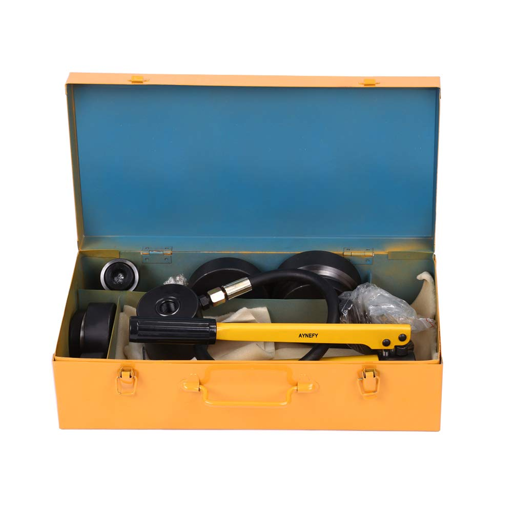15T Hydraulic Hole Punch Tools Set with 10 Dies 16mm 20mm 26.2mm 32.5mm 39mm 51mm 63mm 76mm 89mm 101mm for Metalworking Metal Steel Plate AYNEFY Hole Punch and Dies