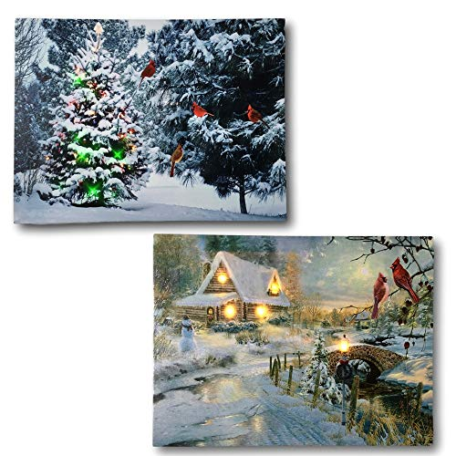 BANBERRY DESIGNS Winter Scene Canvas Print Set - 2 LED Wall Art Prints with Snow and Cardinals - Lighted Wall Art for Christmas ()