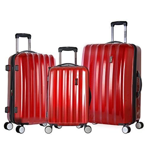 Olympia Titan 3 Piece Expandable Polycarbonate Hard Case Spinner Set, Red, One Size