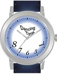 """Dancing Time"" Is the Theme on the Blue Dial of the Large Round Polished Chrome Watch with Navy Blue Band"