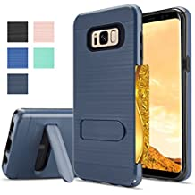 Samsung Galaxy S8Plus Case,Samsung S8 Plus Case,AnoKe[Card Slots Wallet Holder]Kickstand Hard Plastic PC TPU Soft Hybrid Shockproof Heavy Duty Protective Case for Samsung S8+ KC1 Metal Slate Newest