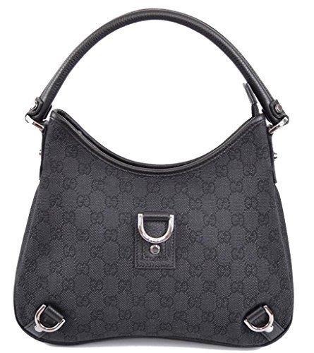 Gucci 268637 Black Denim GG Guccissima D Ring Abbey (Gucci Hobo Purse)