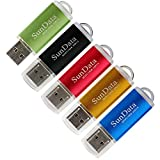 SunData 5 Pack 16GB USB 2.0 Flash Drive Thumb Drives Memory Stick, 5 Colors: Black Blue Green Gold Red