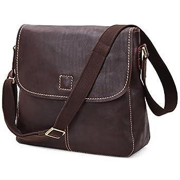 Image of ALTOSY Vintage Leather Messenger Bag for Laptop Business Office Shoulder Satchel (8069, Coffee) Luggage