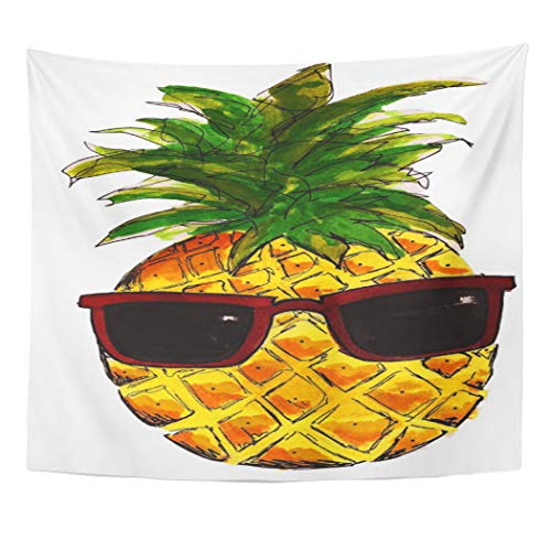 Semtomn Tapestry Artwork Wall Hanging Tumblr Cool Pineapple Tote Black White Simple Fruit Pattern 50x60 Inches Home Decor Tapestries Mattress Tablecloth Curtain Print]()