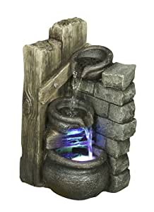Hi-Line Gift Ltd Fountain-Rock Multi Level with LED Warm, White Light