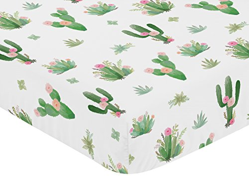 Pink Green Boho Watercolor Baby or Toddler Fitted Crib Sheet for Cactus Floral Collection by Sweet Jojo Designs by Sweet Jojo Designs