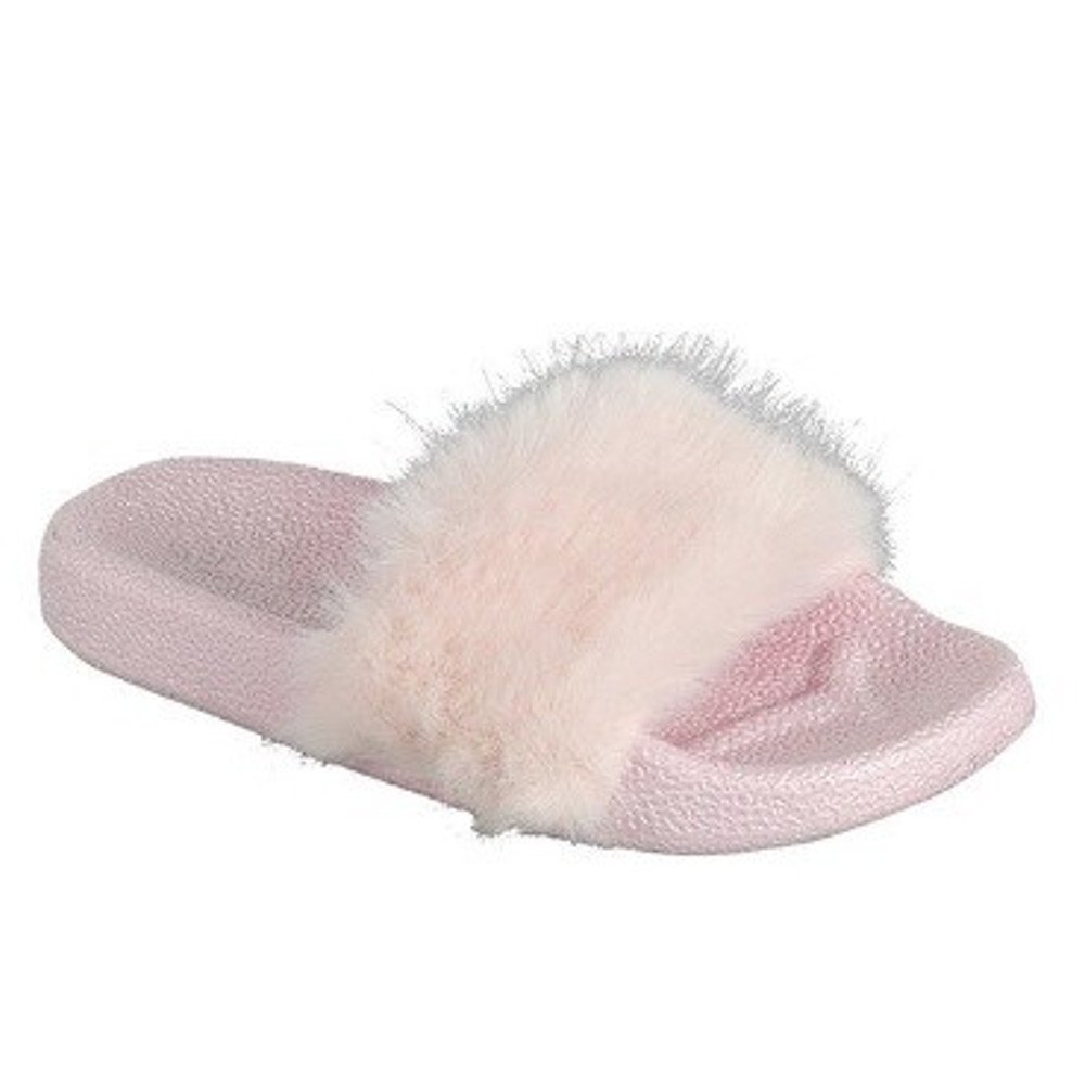 Popular Girls' Fuzzy Faux Fur Slide Slip On Sandals POP-FRRY